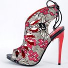 Alba Aviva Red Multi Floral Print Open Toe Slingback Tear Drop Stiletto Heel