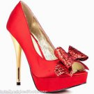 Luichiny Kissy Kiss - Red Satin Glitter Bow Peep Toe High Heel Pump Shoe 7-11