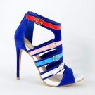 "Alba Doris Blue & Multiple Color Strap Open Toe 4.5"" Stiletto Heel Shoe 7-11"