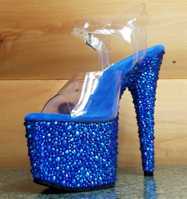"Bejeweled 708 MS Blue Rhinestone Platform Clear Strap Shoe 7"" Heel Sizes 9 & 10"