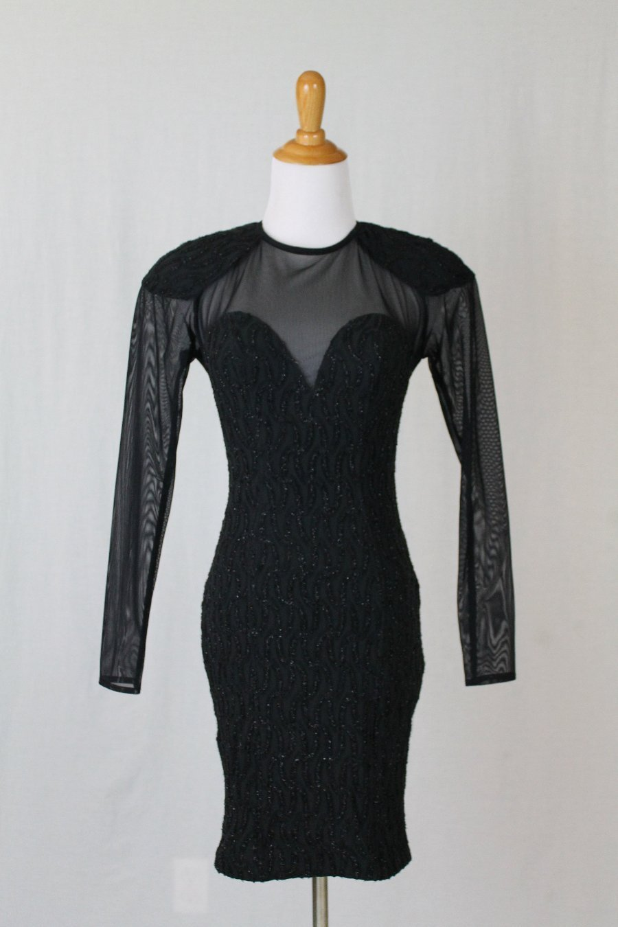 Vintage Susan Roselli for VIJACK Black Lace Bodycon Illusion Long Sleeve Dress 4