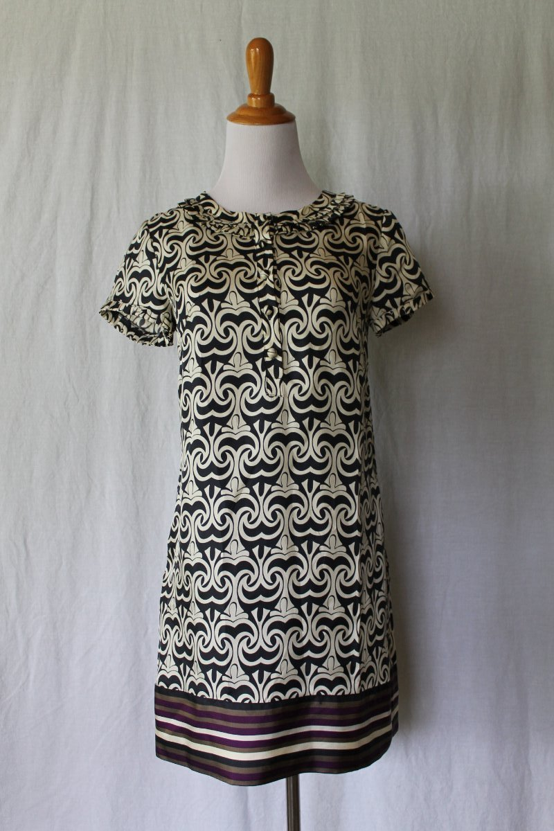 Banana Republic Navy & Cream Optical Print Silk Blend Ruffled Shift Dress XS