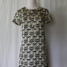Banana Republic Navy & Cream Optical Print Silk Blend Ruffled Shift Dress XS