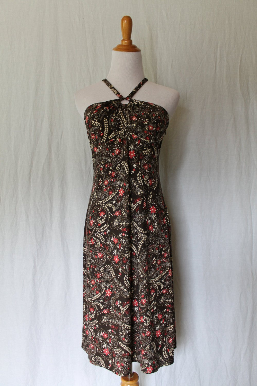Ann Taylor LOFT Dress TIKI Floral Jersey Keyhole Front Cross Back Halter 2 New