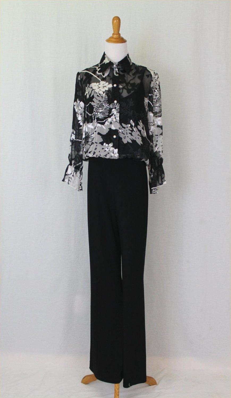 Joseph Ribkoff Floral Print Sheer Silk Illusion & Black Matte Jersey Jumpsuit 6