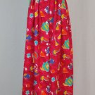 Vintage F.L. Malik Red Tea Teapots Novelty Print Button Front Maxi Skirt 6