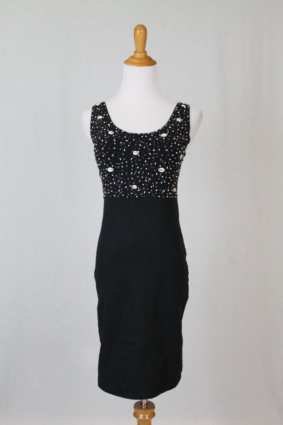 Vintage MISS SELFRIDGE 90's Seashells Beaded Black Cotton Bodycon Tank Dress M/L