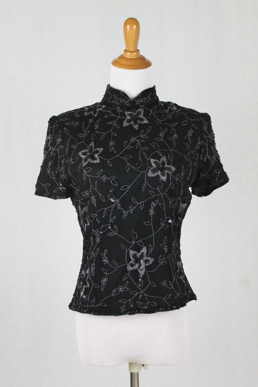 Vintage Papell Boutique 1940's Style Beaded & Sequined Silk Short Sleeve Top S