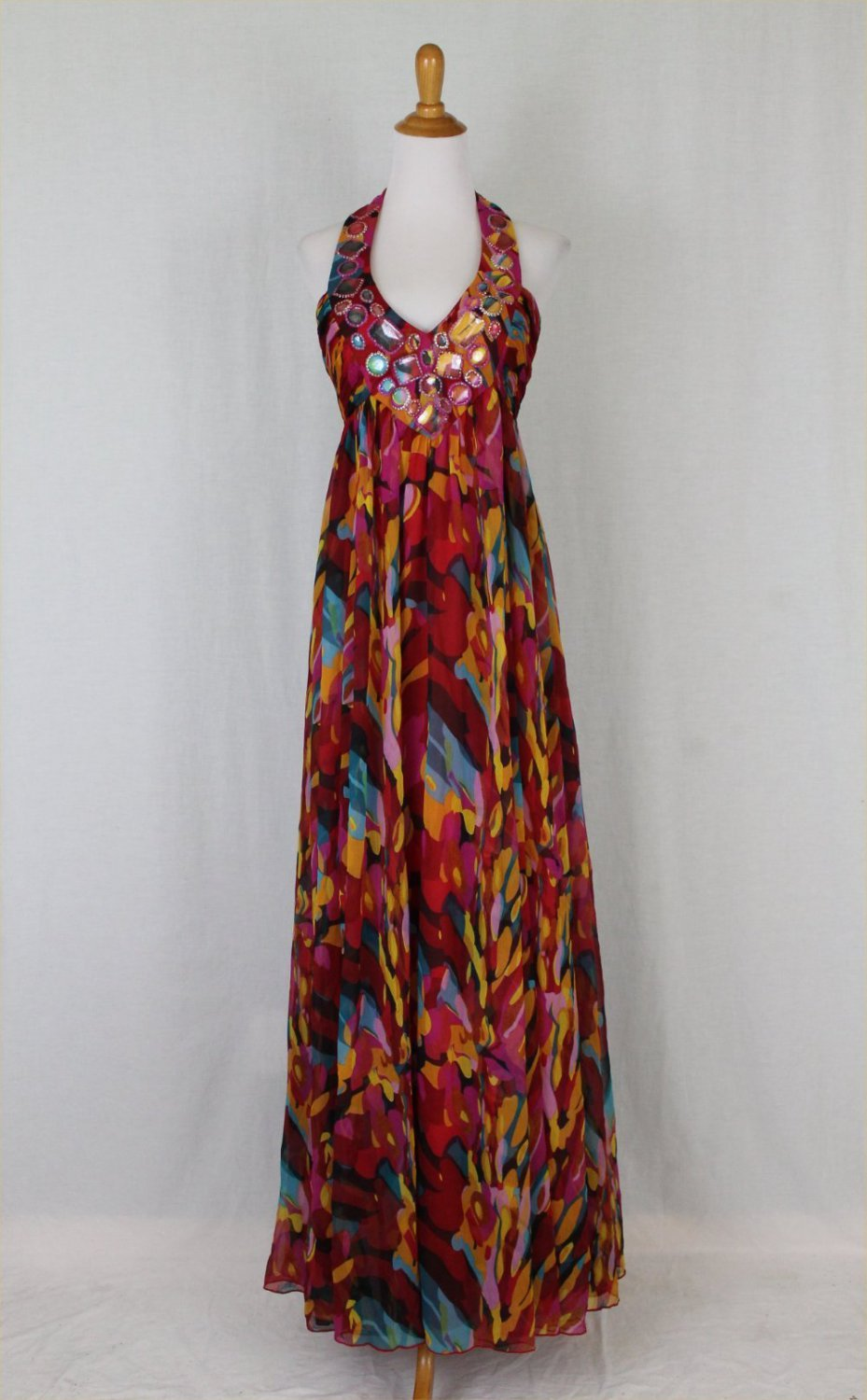 Adrianna Papell Long Chiffon Maxi Gown Red Multi colored Jeweled Halter Dress 6