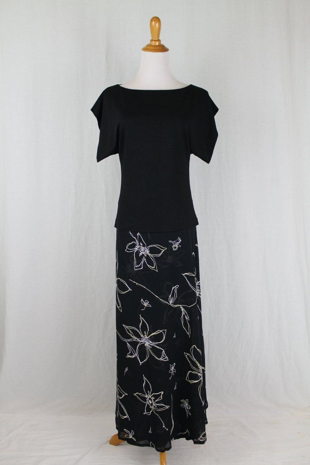 CHACOK Black & White Floral Long Midi Skirt & Top Dress Made in France  S T-1