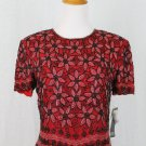 Adrianna Papell Boutique Beaded Red & Black Silk Short Sleeve Top Deco S NWT