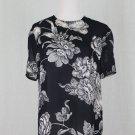Vintage Linda Allard Ellen Tracy Navy Blue & White Silk Short Sleeve Blouse 4