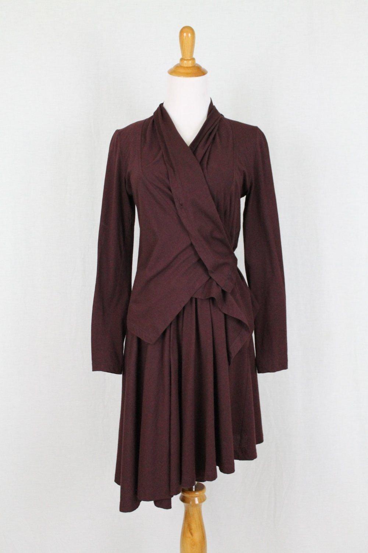 Morgane Le Fay Burgundy Asymmetrical Hem Sleeveless Ballerina Dress & Jacket XS