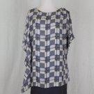 Poleci Gray & Blue Silk Roman Inspired Draped Layered Toga Dress NWT New 2