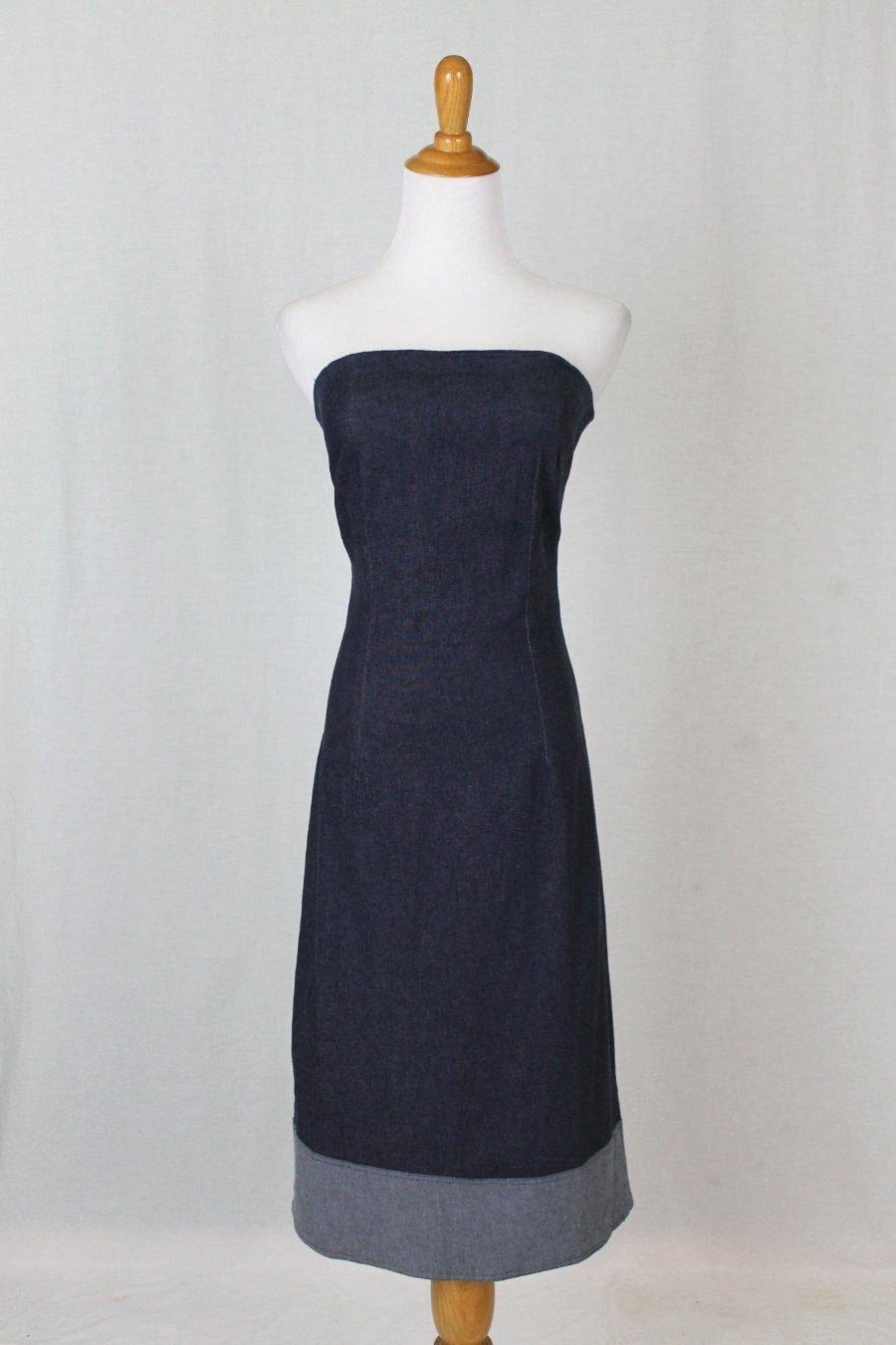 3B Made in America Strapless Dark Wash Stretch Denim Below the Knee dress M NEW