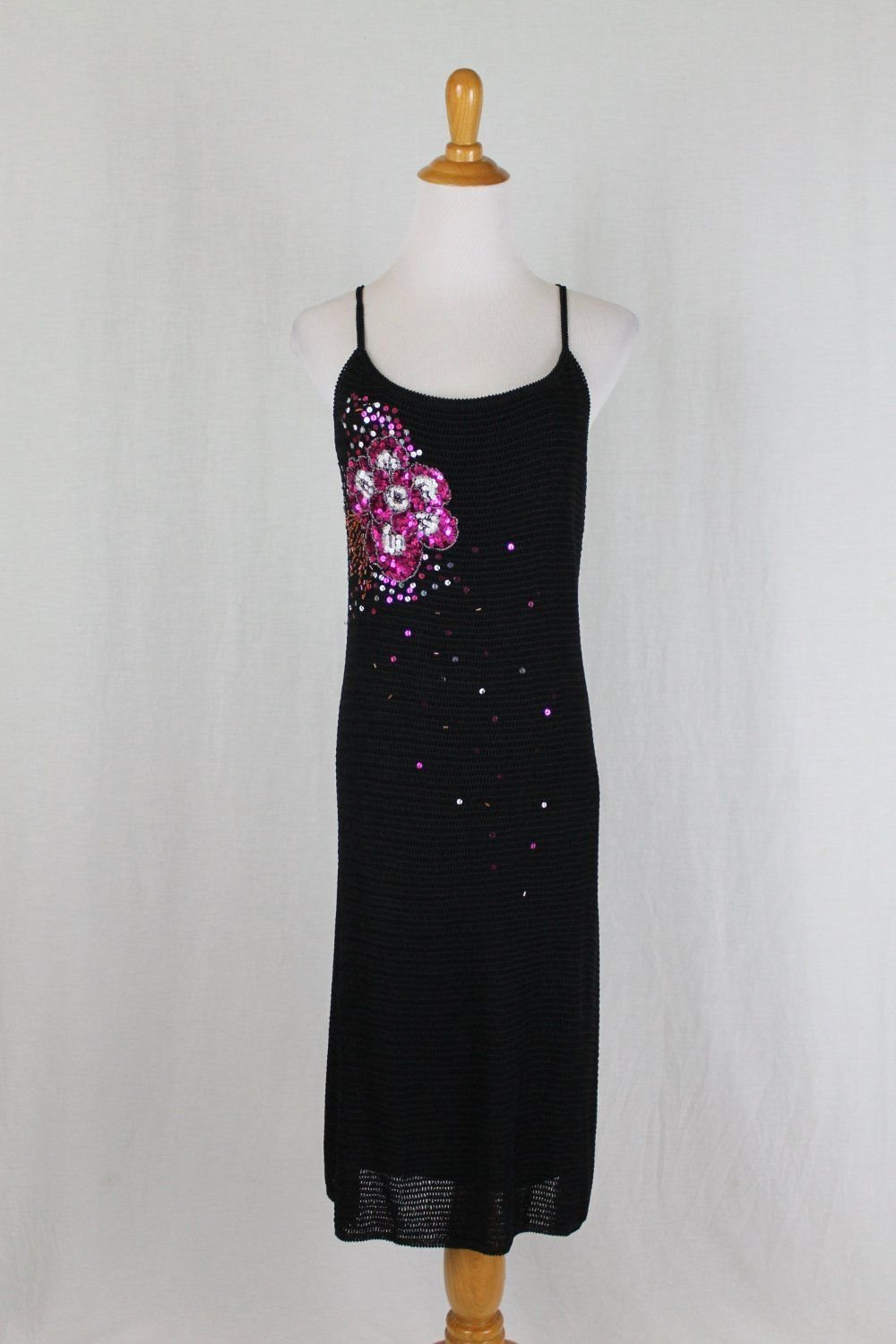 Vintage Adrianna Papell 90's Beaded Black Crocheted Cross Back Cocktail Dress S