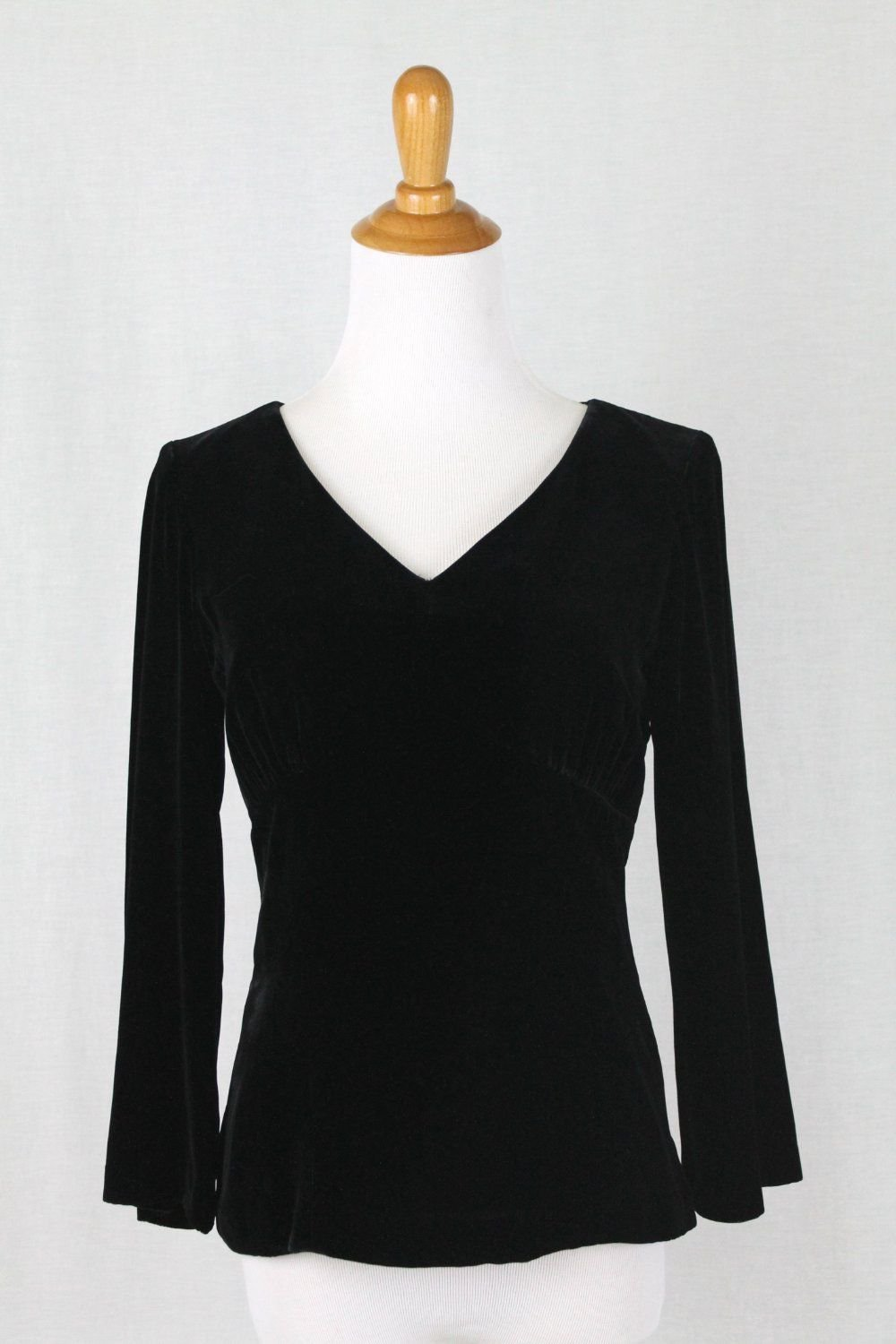 Vintage Ann Taylor Evening Top Long Sleeve V-Neck Rayon & Silk Velvet Size 0 XS