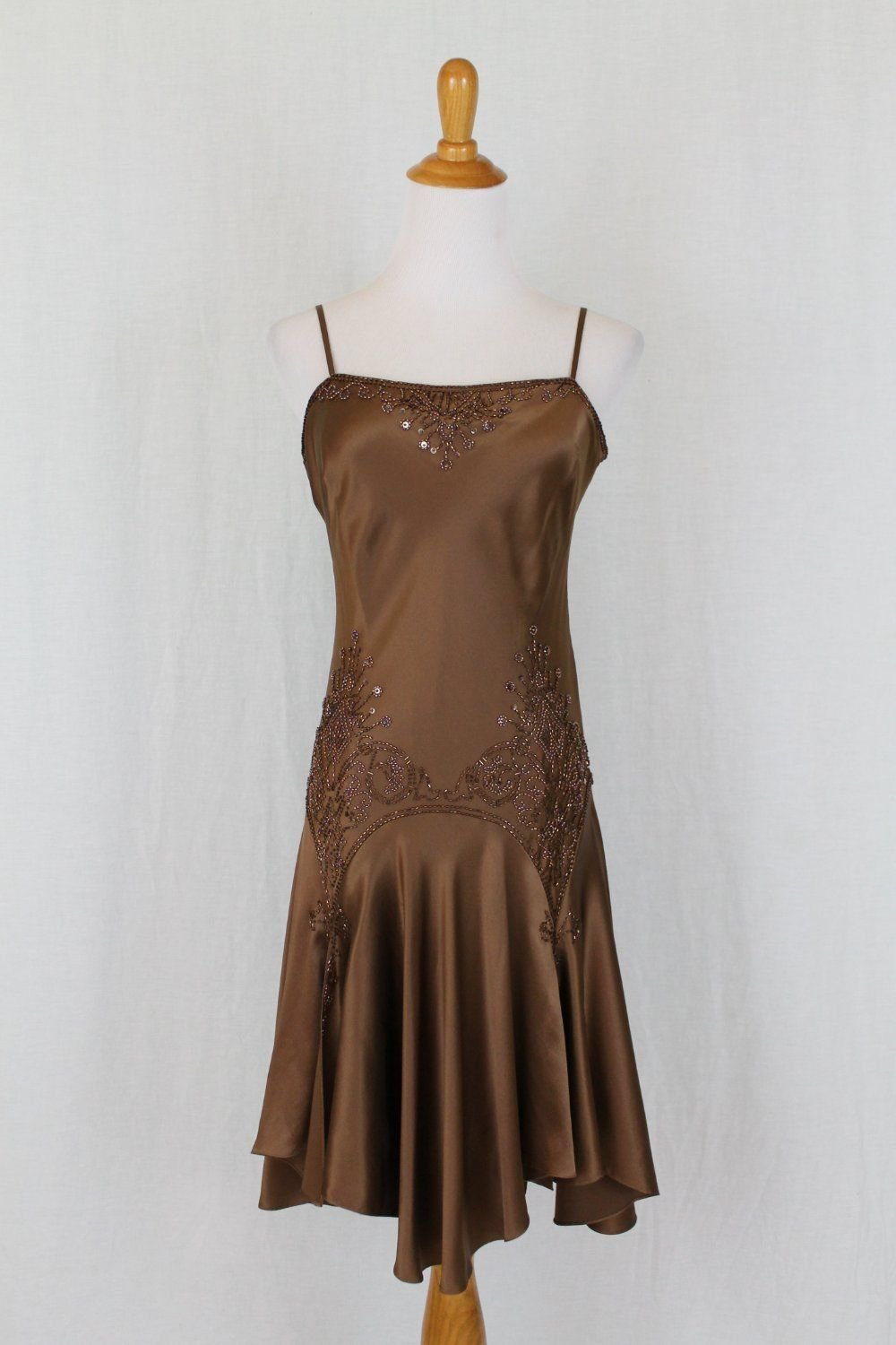 ADRIANNA PAPELL Beaded Bronze Silk Charmeuse 1920's Flapper Gatsby dress Gown 6
