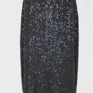 BROOKS BROTHERS Beaded and Sequined Black Silk Pencil Skirt 4 Perfect Condition