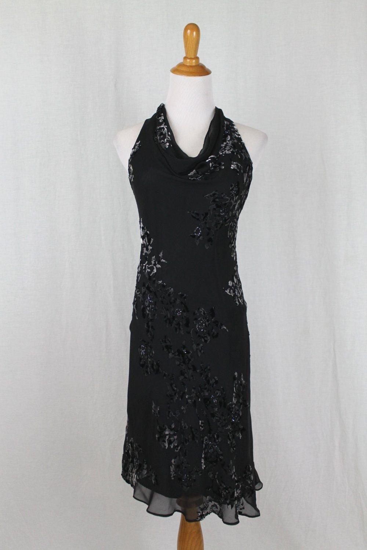 Vintage JONES NEW YORK Beaded Black Silk Velvet 1920's 30's Bias Cut Dress 6p