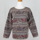 Vintage Express Gray Floral Tapestry Wool Blend Sweater 1980's Perfect XS