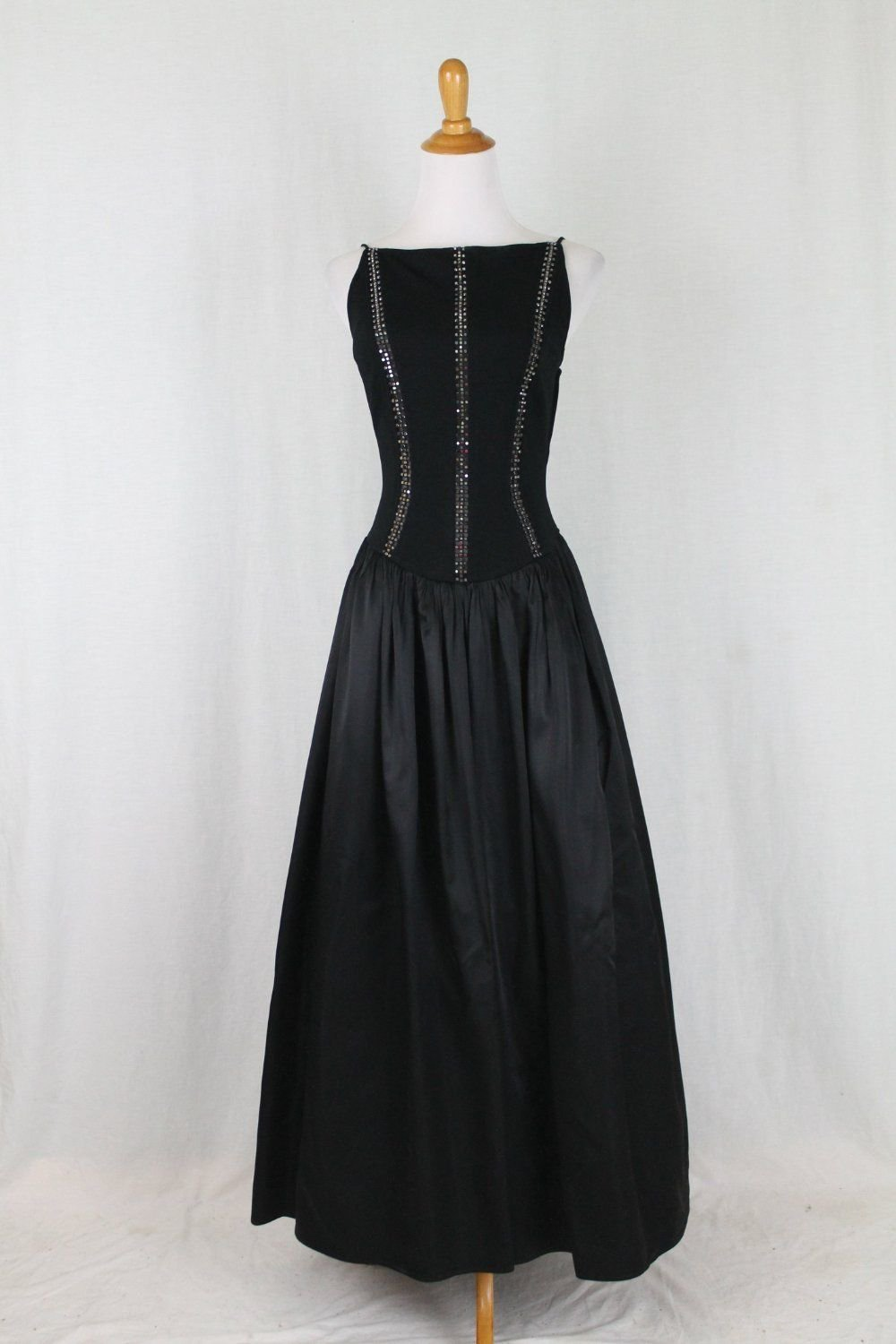 Cache Black Ballgown Full Length Spaghetti Straps Open Back Made in USA S