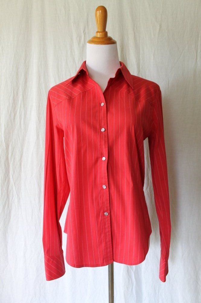ELIE TAHARI Red & White Pin Stripe Snap Front Shirt Western Style Cowgirl Small