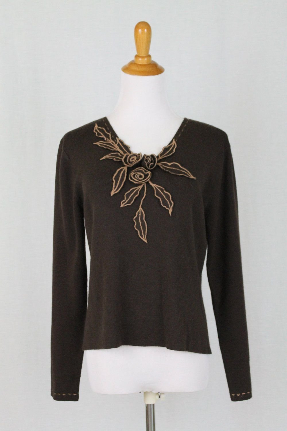 Vintage Adrianna Papell Brown Wool Blend Embroidered V-Neck Sweater Sz Medium