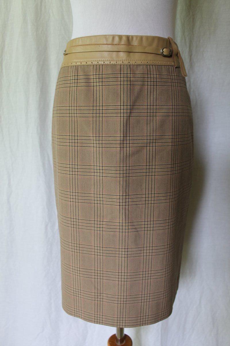 BCBG Max Azria Beige Glen Plaid Wool blend Leather Trim pencil skirt  S