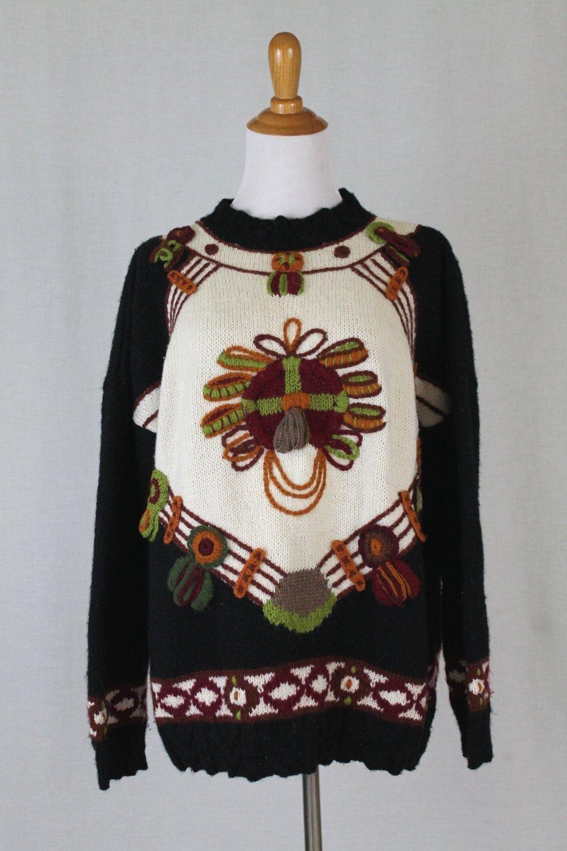 ROBERTA FREYMANN Roberta Roller Rabbit Handknit Wool Oversized Sweater S