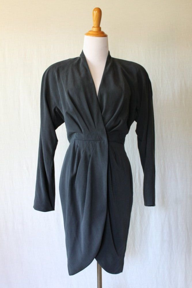 Vintage BICCI by Florine Wachter Wrap Dress Sexy Black Long sleeve Union Made 2
