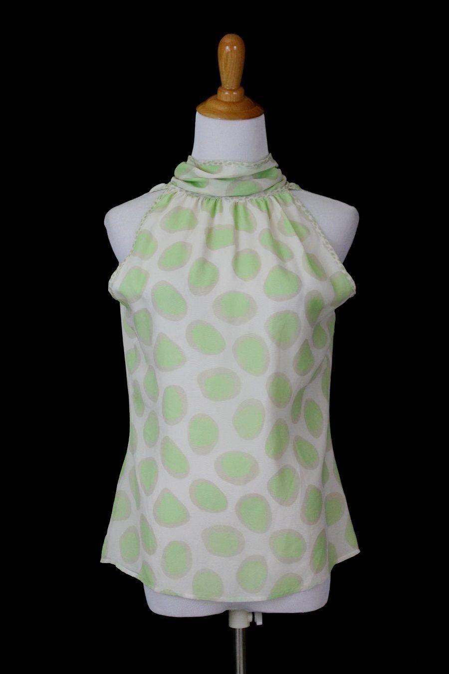 Louis Feraud Pussy Bow Silk Halter Blouse Shell Pastel Green Polka Dots 8 38 M