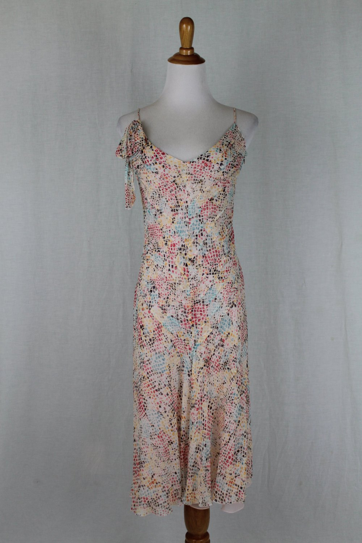 Sonia Rykiel Floaty Pleated Silk Spaghetti Strap Dress Made in France 36 USA size 4