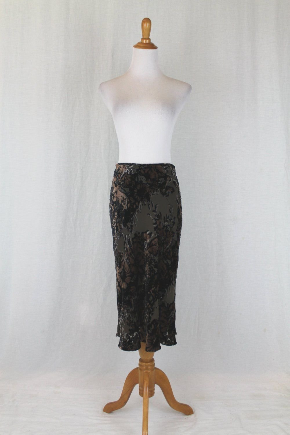 Adrianna Papell Beaded Burned Velvet Bias Cut Mid Calf Skirt Olive Brown Black 4