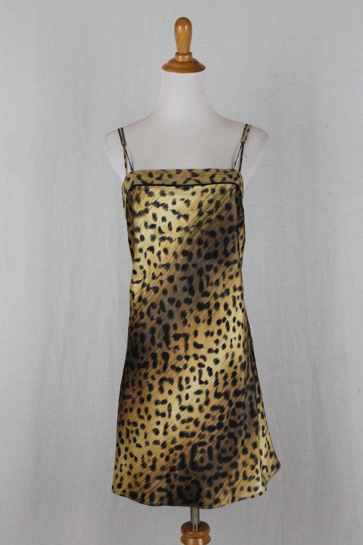 Vintage LEJABY Paris Neiman Marcus Leopard Print Chemise Nightgown Gold & Blk S