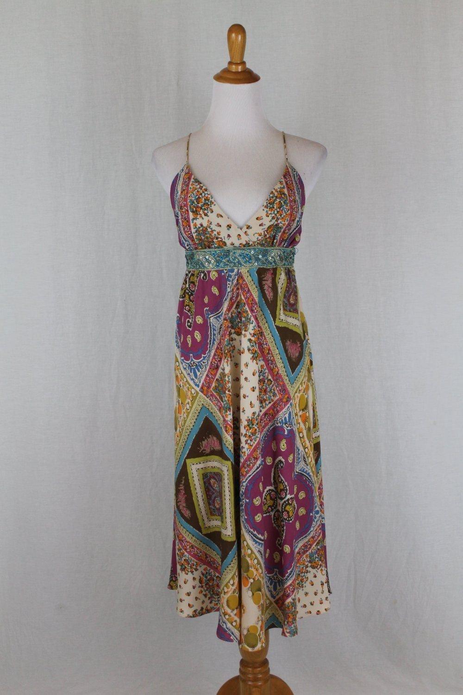 Nicole Miller Embellished Floral Silk Spaghetti Strap Midi Halter Dress Gown 0