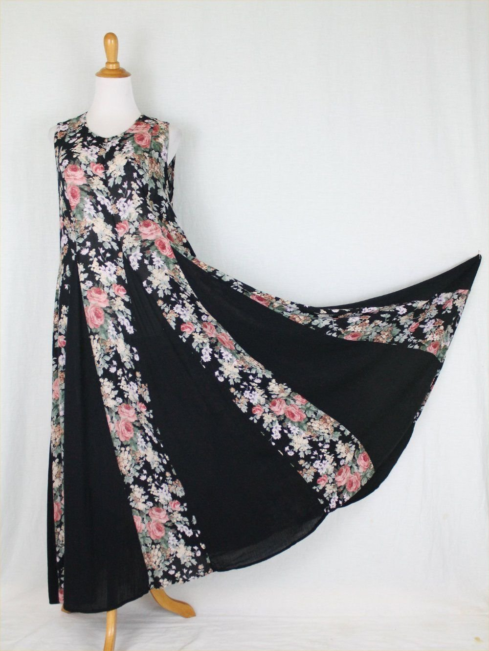 Vintage STARINA Pink & Black Floral Rose Print Sleeveless Maxi Sundress Dress M
