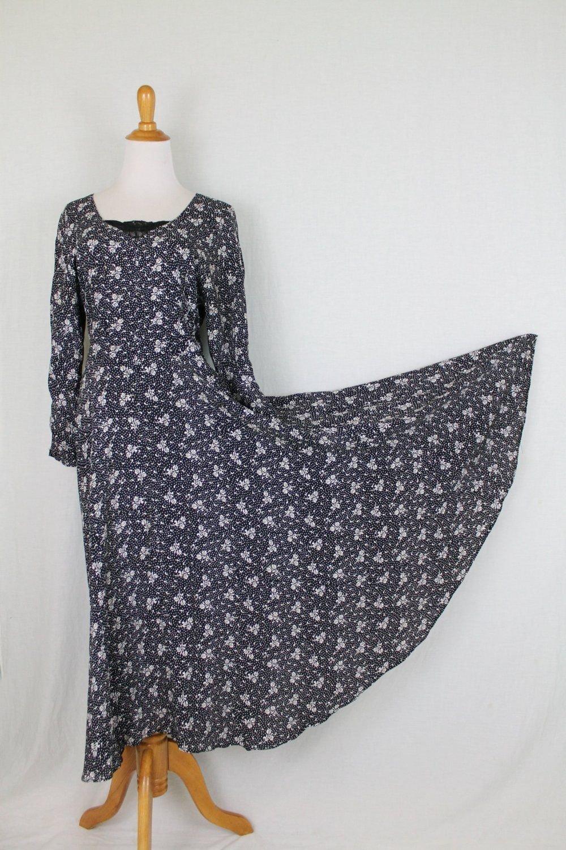 Vintage STARINA 90's Black & White Floral Long Sleeve Bias cut Midi Maxi Dress S
