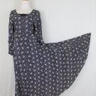 Vintage STARINA 90's Black & White Floral Long Sleeve Bias cut Midi Maxi Dress S