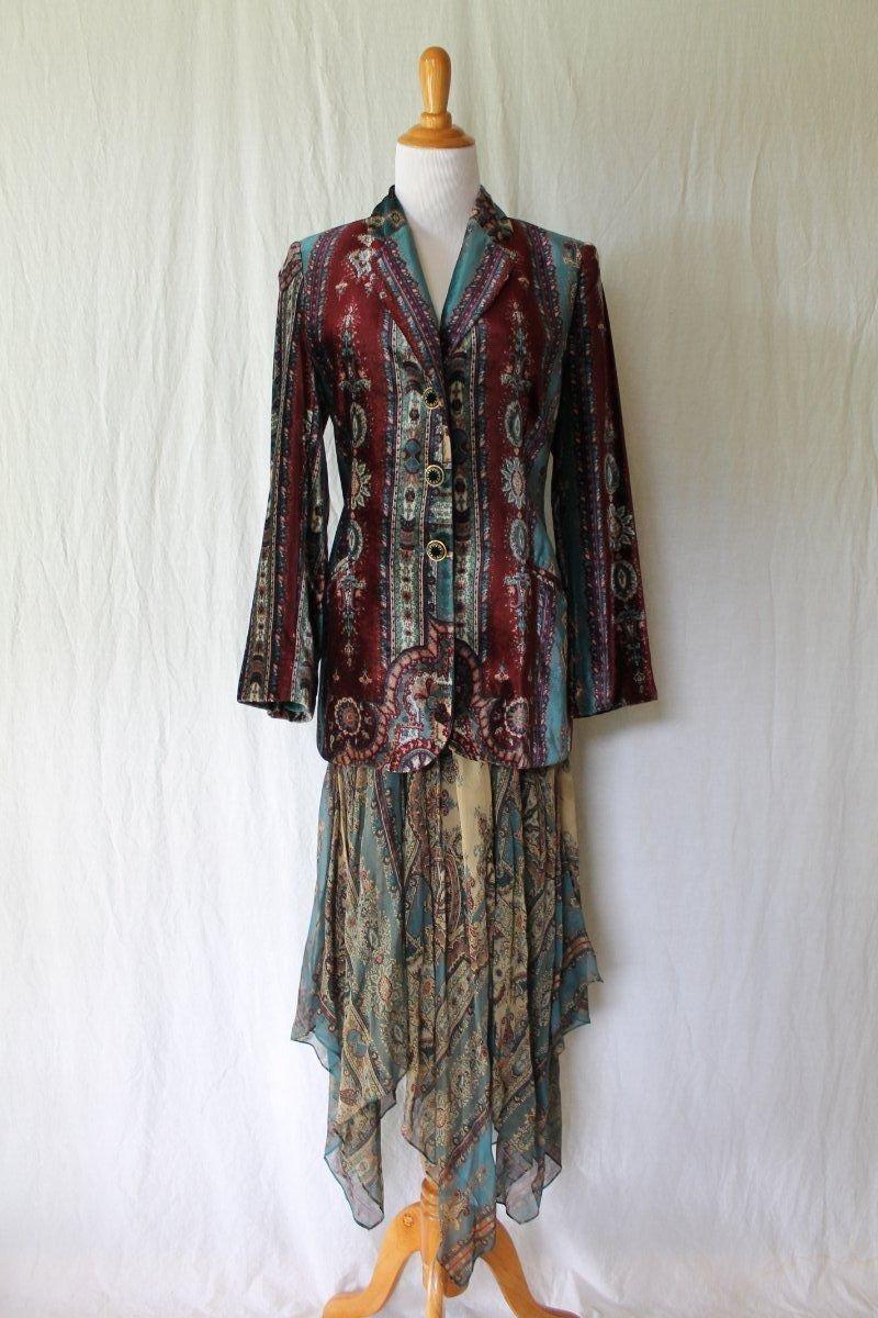 Vintage ALBERTA FERRETTI Ensemble Silk & Velvet Jacket Skirt Boho Gypsy 38 4