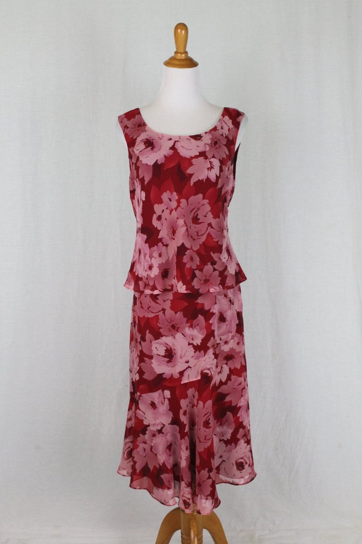 ADRIANNA PAPELL Pink Floral Print Silk Chiffon 1920's Flapper Gatsby Dress 10