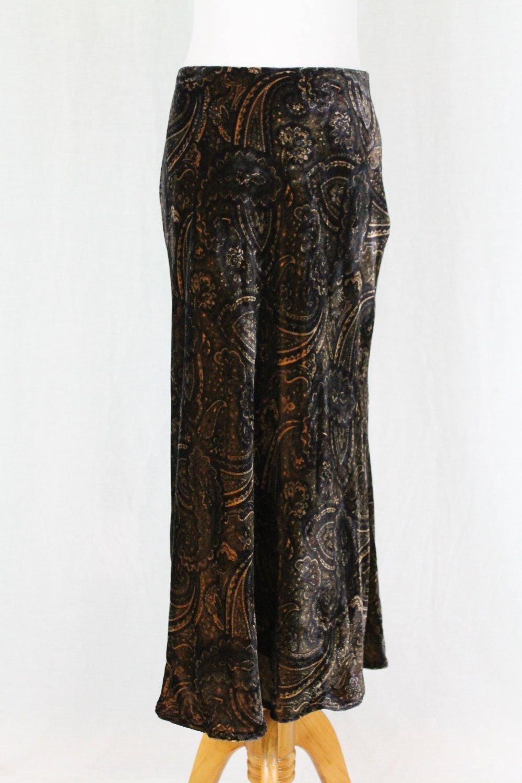 Ralph Lauren Skirt Bias Cut Black & Blue Paisley Velvet Long Midi length 6P