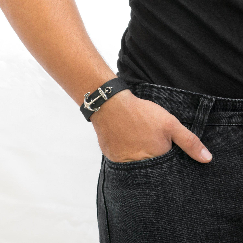 Men's Bracelet - Men's Jewelry - Men's Leather Bracelet - Men's anchor Bracelet - Men's Gift