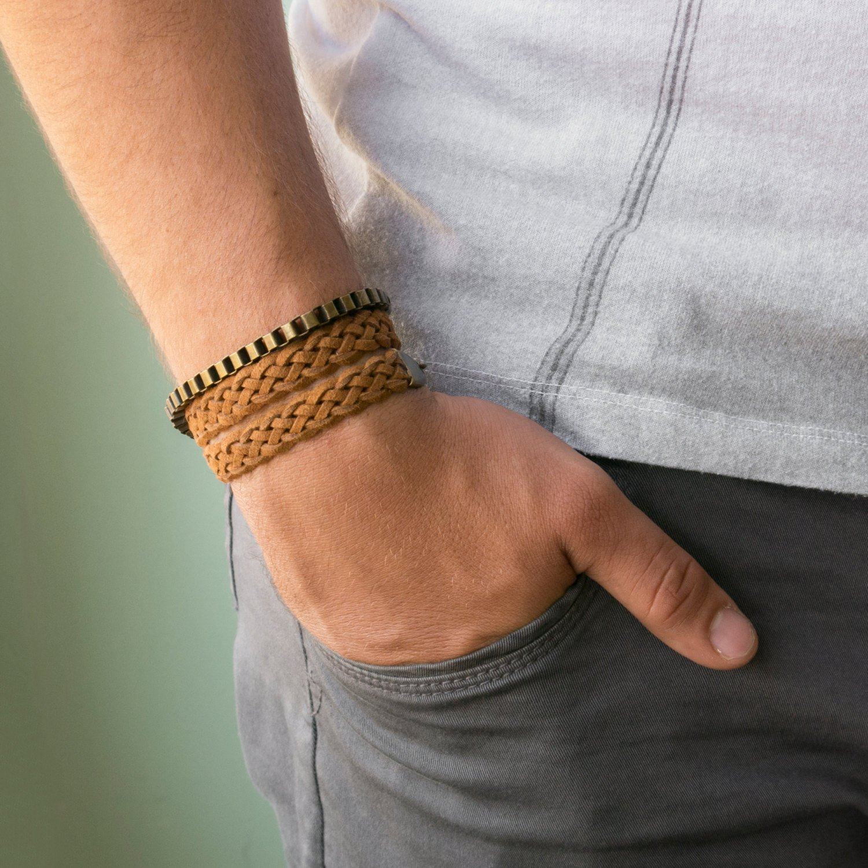 Men's Bracelet Set - Set of 2 Bracelets For Men - Men's Jewelry - Men's Leather Bracelet