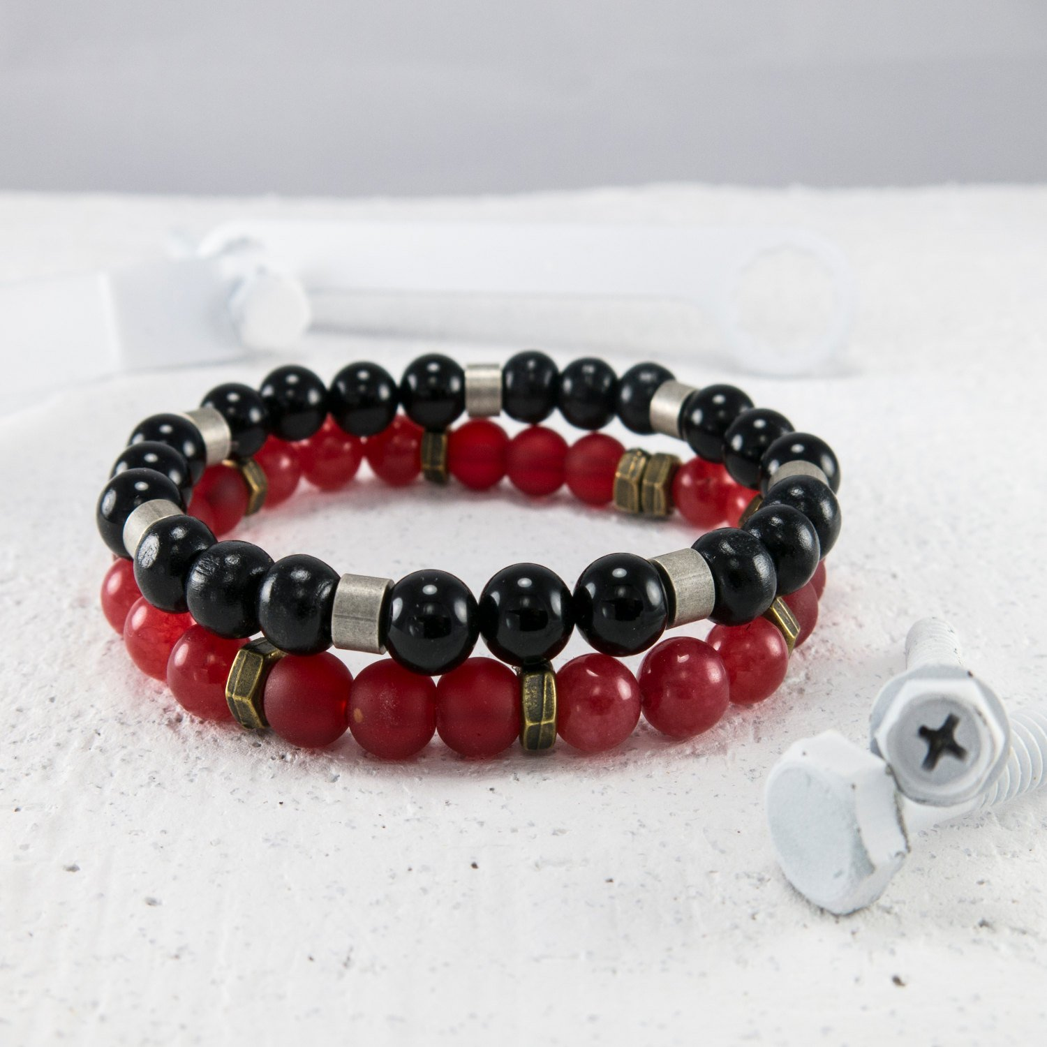 Men's Bracelet Set - Set of 2 Bracelets For Men - Men's Jewelry - Men's Beaded Bracelet