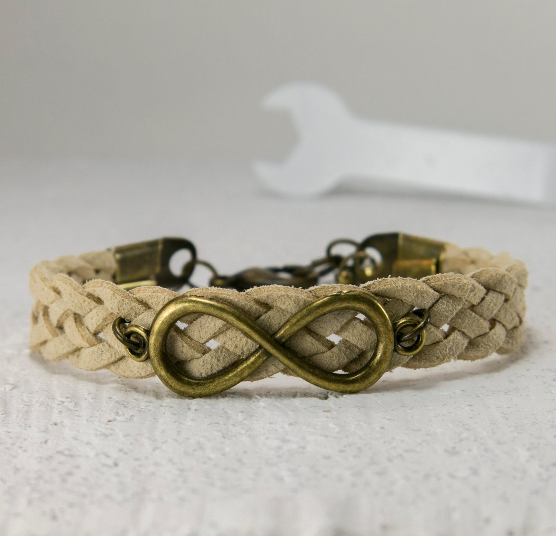 Men's Bracelet - Men's Leather Bracelet - Men's Infinity Bracelet - Men's Jewelry - Men's Gift