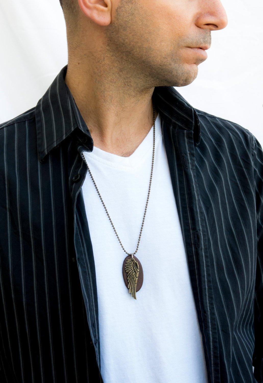 Men's Necklace - Men's Silver Necklace - Men's Leather Necklace - Men's Jewelry - Men's Gift