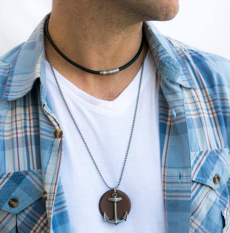 Men's Necklace - Men's Anchor Necklace - Men's Silver Necklace - Men's Leather Necklace - Men's Gift