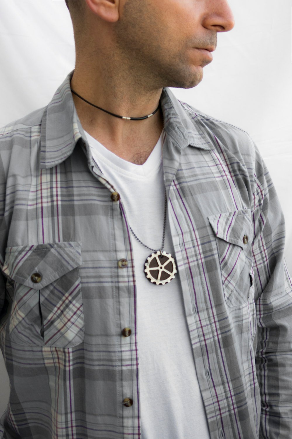 Men's Necklace - Men's Silver Necklace - Men's Leather Necklace - Men's Jewelry - Men's Gift