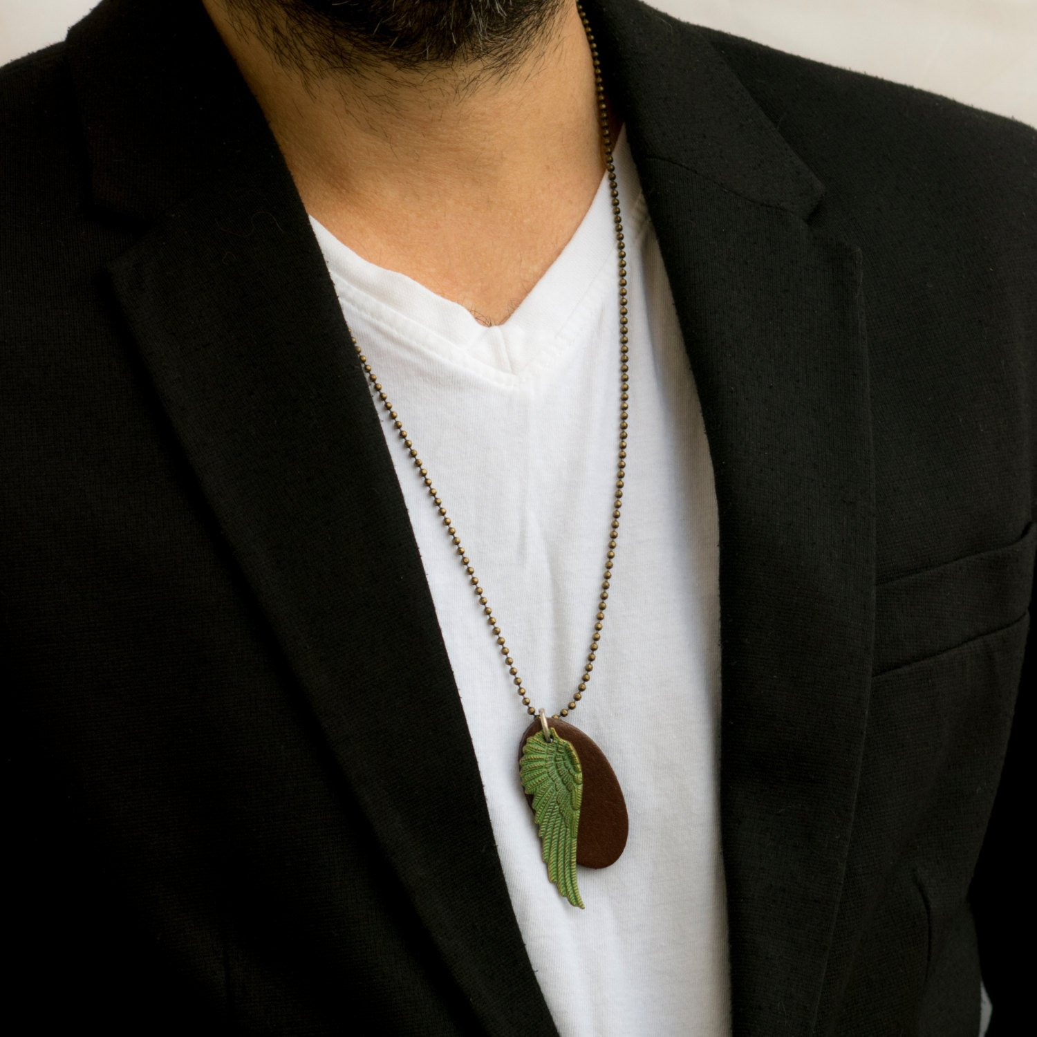 Men's Necklace - Men's Brass Necklace - Men's Leather Necklace - Men's Jewelry - Men's Gift